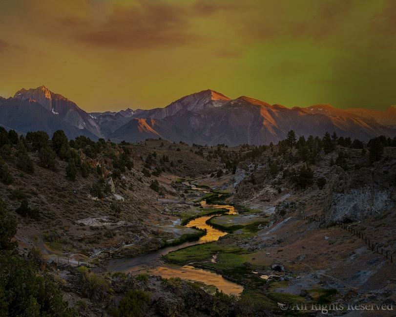 Hot Creek Sunset Reflections, Eastern Sierra