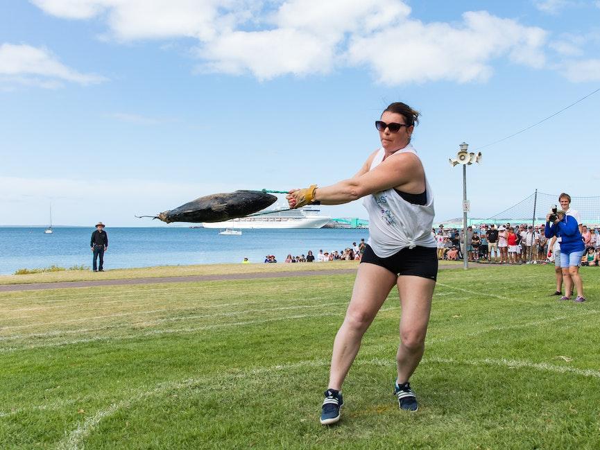 Winner of the Women's Tuna Toss