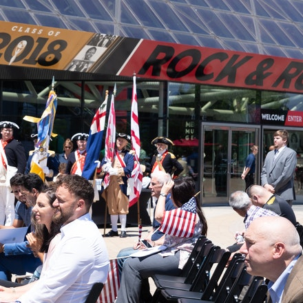 Becoming a citizen of the US - Naturalization ceremony at the Rock and Roll Hall of Fame.  Cleveland, OH.