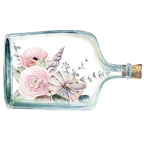 watercolor illustration with flowers inside bottle - watercolor illustration with flowers inside bottle. It can be used for cards, postcard, poster, valentines...