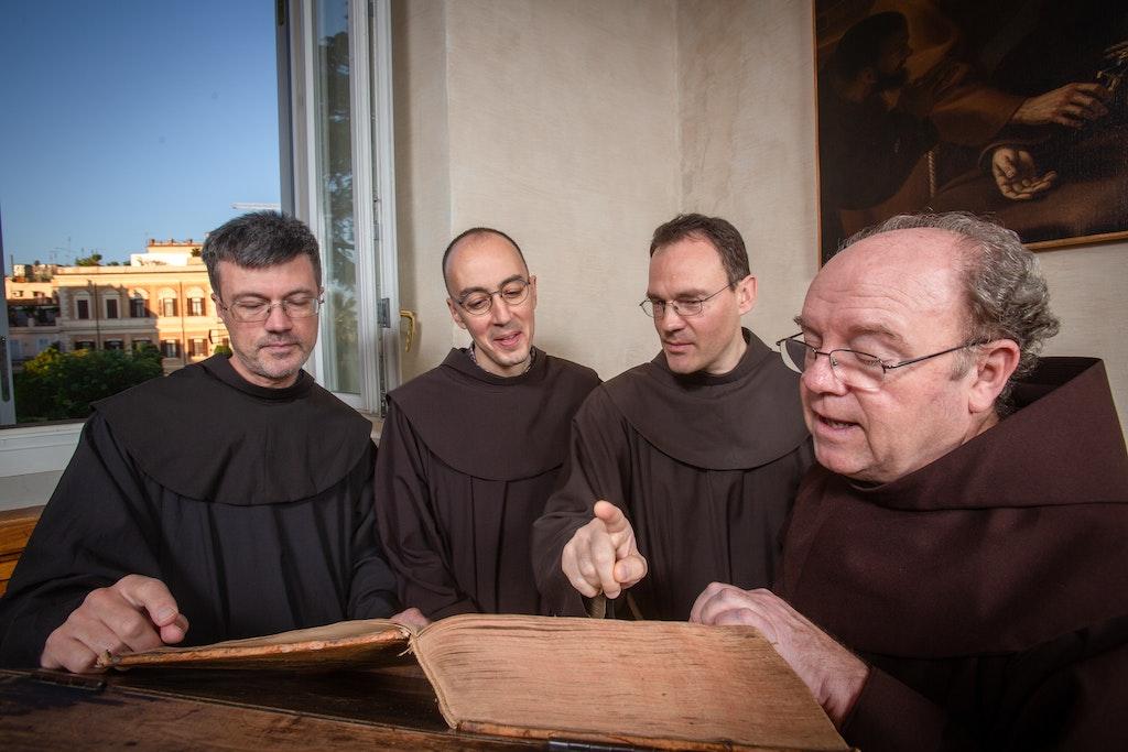18141-3044-QuaracchiEditions - (from left) Br Albert Schmucki OFM, Br Juri Leoni OFM, Br Florian Mair OFM, Br William Short OFM.Quaracchi editors, Chapter...