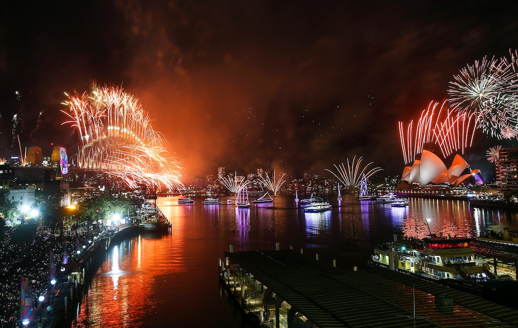 775249770DA154_City_Of_Sydn - SYDNEY, AUSTRALIA - JANUARY 01:  Fireworks are seen during the Midnight Fireworks on New Year's Eve on Sydney Harbour on...