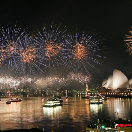 775249770DA152_City_Of_Sydn - SYDNEY, AUSTRALIA - JANUARY 01:  Fireworks are seen during the Midnight Fireworks on New Year's Eve on Sydney Harbour on...