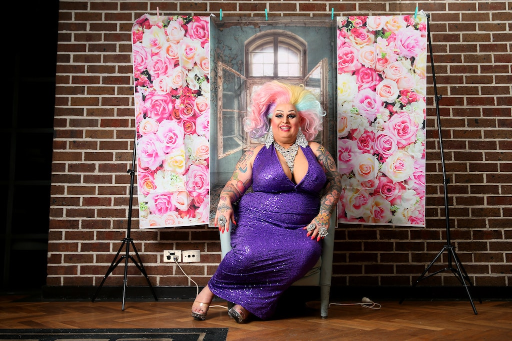 Drag Performer Maxi Shield Hosts Instagram Chat Show During Coro - SYDNEY, AUSTRALIA - MAY 18: Drag performer Maxi Shield  poses inside the Oxford Hotel...