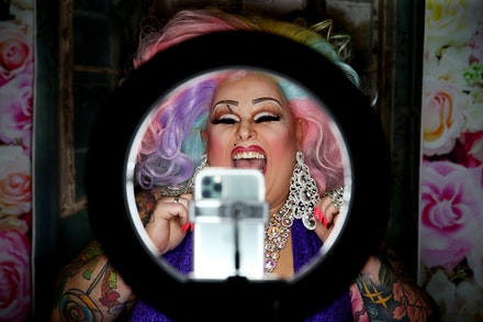 Drag Performer Maxi Shield Hosts Instagram Chat Show During Coro - SYDNEY, AUSTRALIA - MAY 18: Drag performer Maxi Shield chats to her online audience...