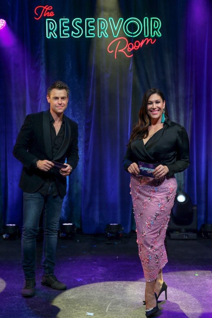 21001-001-CC-CentaCare - SYDNEY, AUSTRALIA - JUNE 05: Co-hosts Roger Corser and Catherine Alcorn pose post show  on June 05, 2020 in Sydney, Australia....