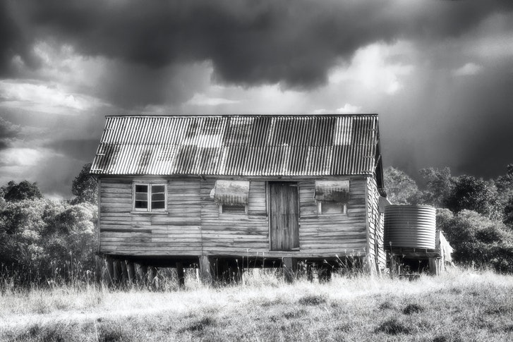 On the road to Biggenden,QLD. - The shades of wear and age on this deserted farmhouse  caught my eye.
