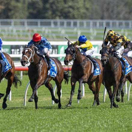 Funstar-McDonaldJames-20190921-0308 - FUNSTAR (Adelaide x Starspangled) wins the G2 Tea Rose Stakes.  Ridden by James McDonald.  Photo - Bronwen Healy....