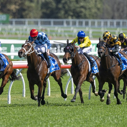 Funstar-McDonaldJames-20190921-0309 - FUNSTAR (Adelaide x Starspangled) wins the G2 Tea Rose Stakes.  Ridden by James McDonald.  Photo - Bronwen Healy....