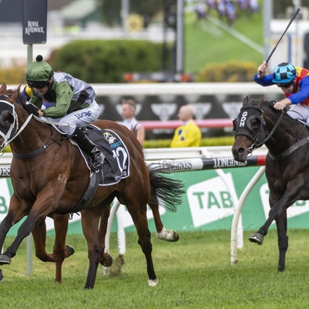 YesYesYes-BossGlen-20191019-2324 - Yes Yes Yes (Rubick - Sin Sin Sin) ridden by Glen Boss wins the 2019 TAB Everest (1200m) at Royal Randwick. 19 October...