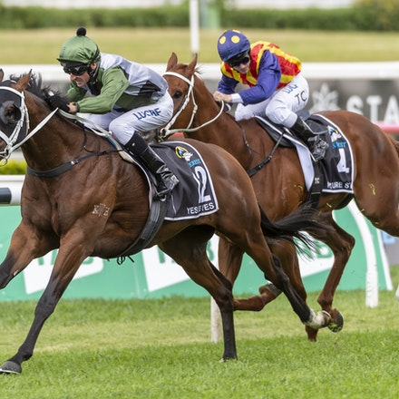 YesYesYes-BossGlen-20191019-2331 - Yes Yes Yes (Rubick - Sin Sin Sin) ridden by Glen Boss wins the 2019 TAB Everest (1200m) at Royal Randwick. 19 October...