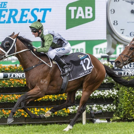 YesYesYes-BossGlen-20191019-2343 - Yes Yes Yes (Rubick - Sin Sin Sin) ridden by Glen Boss wins the 2019 TAB Everest (1200m) at Royal Randwick. 19 October...