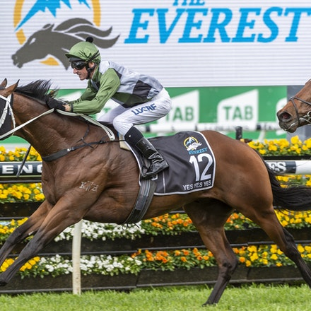 YesYesYes-BossGlen-20191019-2344 - Yes Yes Yes (Rubick - Sin Sin Sin) ridden by Glen Boss wins the 2019 TAB Everest (1200m) at Royal Randwick. 19 October...
