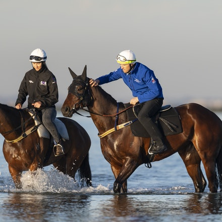 Winx-CaddenBen-10072018-5607 - Champion mare WINX visits the beach at Altona after winning the G1 Turnbull Stakes.  She is ridden by Ben Cadden.  Photo...