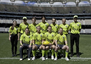 2019 WAFL Grand Final Optus Stadium - Colts - September 22nd September 2019 WAFL Finals Colts UMPIRES  Field #11 - ShunKirk Williams, #16 - Lacie Fahey-Gilmour,...