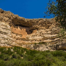 Montezuma Castle National Monument - A 5-story, 20-room cliff dwelling built in the 1100s and 1200s near Camp Verde, Arizona is one of the best preserved...