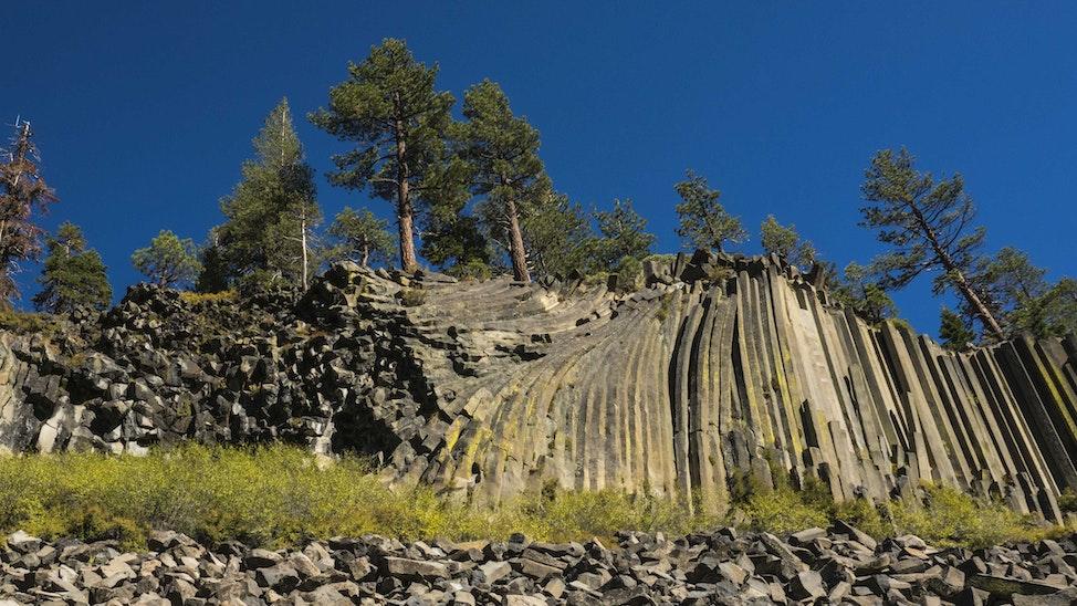 Devil's Postpile Columnar Basalt - 82,000 years ago, a 60 foot-deep flow of basalt lava of consistent mineral composition cooled slowly, forming hexagonal...