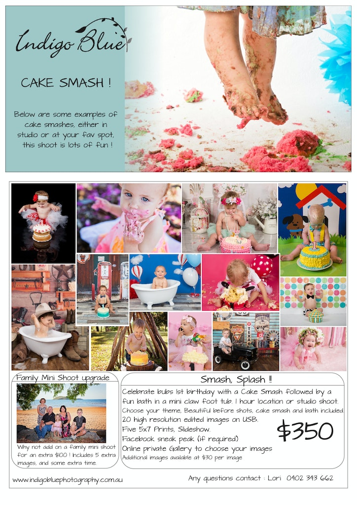 Indigo blue cake smash pricing flyer 2017