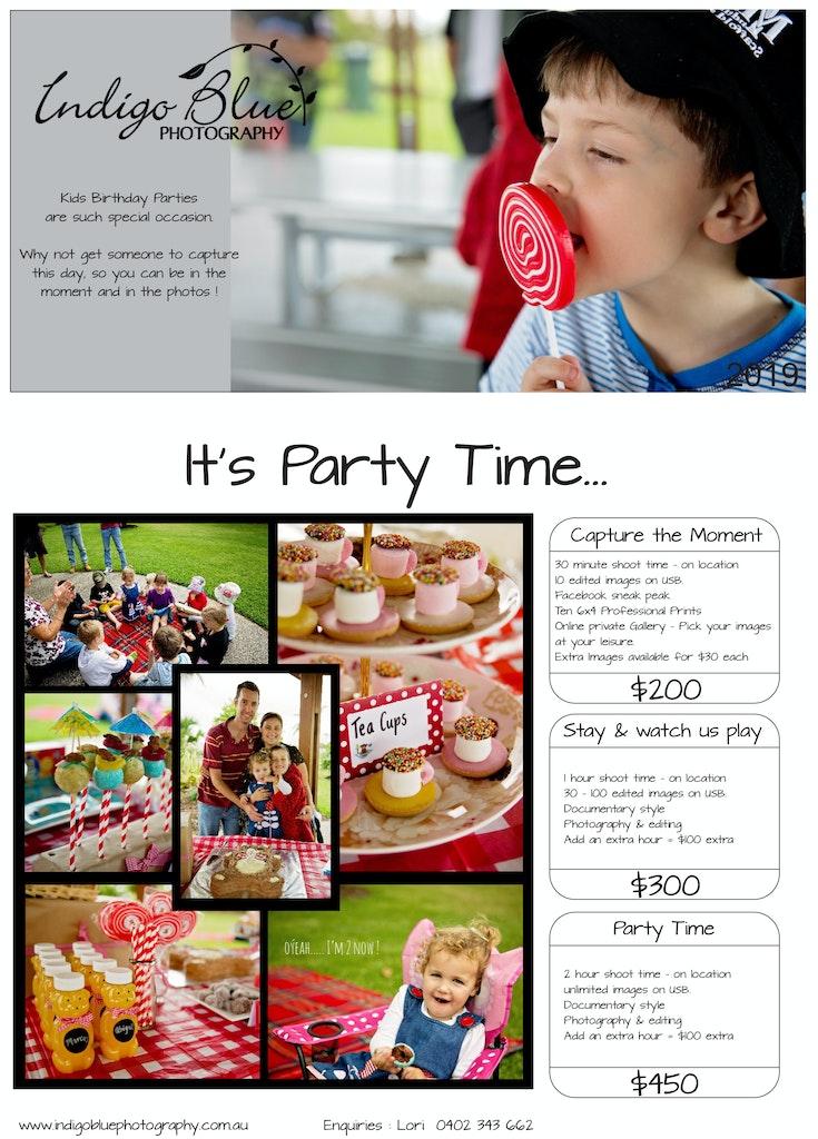 Indigo Blue Photography Kids Parties 2020