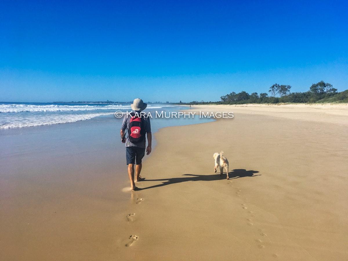 Walking on a quiet beach