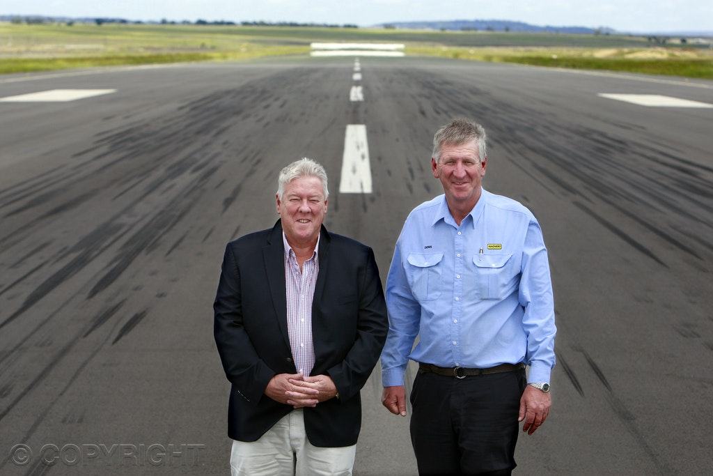 Wagners - Brothers John (left) and Denis Wagner celebrate the first anniversary of Brisbane West Wellcamp Airport.  Picture by Cathy Finch Image taken...