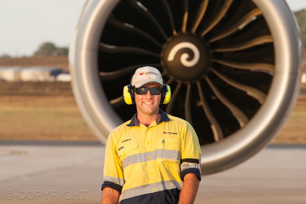 Ground handling staff - Ground handling in front of an aircraft engine on the tarmac at Toowoomba Wellcamp Airport. Image taken by Toowoomba Commercial...