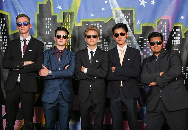 Formal Yr 12 guys - Year 12 young men in sunglasses at their graduation dinner.  Photograph by Toowoomba photographer Cathy Finch Photography.