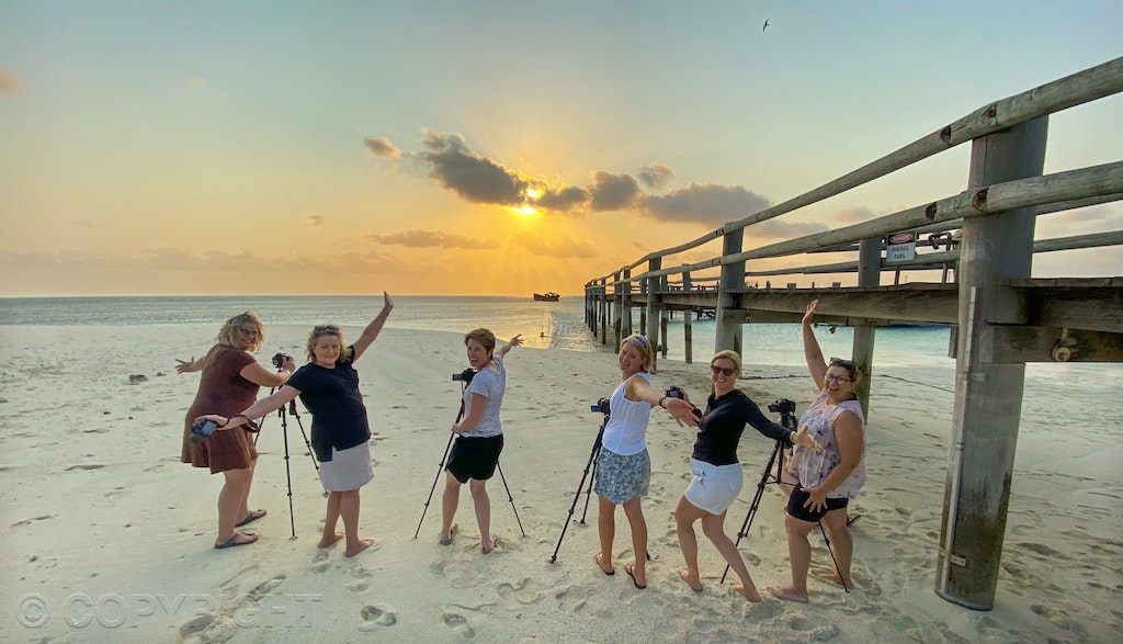 Some of my photographers on a sunset shoot near the Heron Island jetty