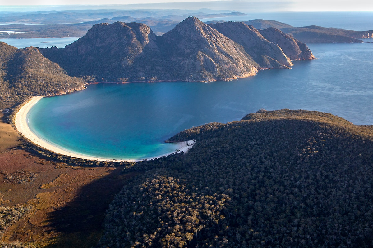 Wineglass Bay & The Hazards - Freycinet National Park, Tasmania (aerial image)