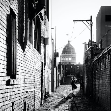 Marion Lane, Fitzroy - Long shadows in Marion Lane, Fitzroy, with the Royal Exhibition Building dome in the background