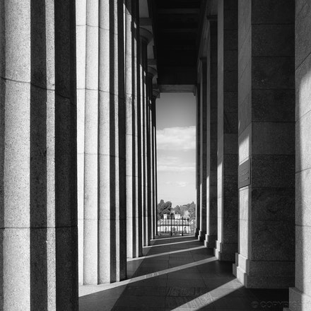 Shrine Column Shadows - Columns casting shadows at the Shrine of Remembrance, Melbourne