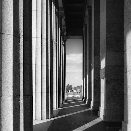 Shrine Column Shadows - Columns casting shadows at the Shrine of Remembrance, Melbourne