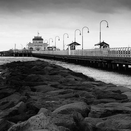 St Kilda Pier Panorama - St Kilda Pier panorama in monochrome