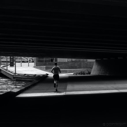 Grimes Bridge Jogger - Charles Grimes Bridge, Docklands Melbourne