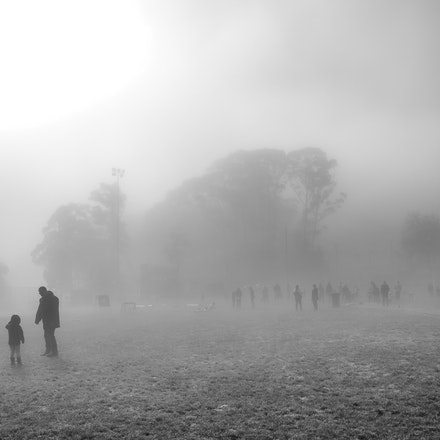 Emerald Football Ground - Before the game at Emerald Football Ground on a foggy Winter's morning