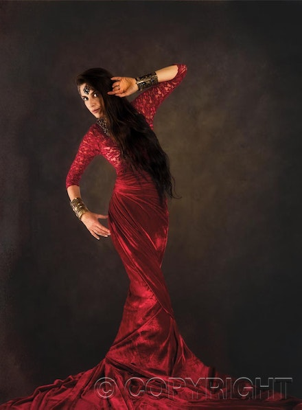 Fashion Photography Studio - The fabulous Lee looking elegant in Red Satin. If you would like to be a Fashion Model call us.