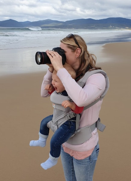 photographer with baby - juggling being a mum and a photographer