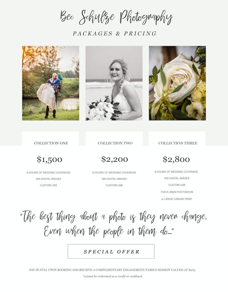 Wedding Pricelist