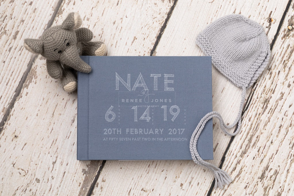 Customised Matted Albums - Brisbane Newborn Photographer - Photograph of a blue custom matted photo album available for purchase at Renee Jones Photography