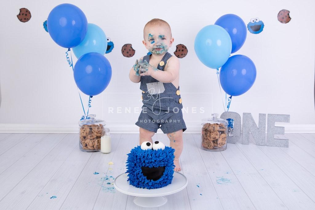 Cookie Monster Cake Smash - Brisbane Cake Smash Photographer - A Cookie Monster themed first birthday cake smash