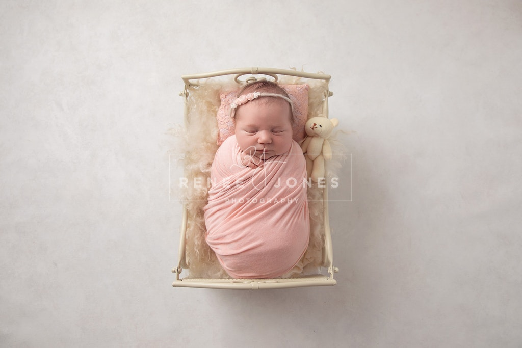 Newborn bed prop - Brisbane Newborn Photographer - Newborn wrapped in pink sleeping in a cream wrought iron bed on a white background