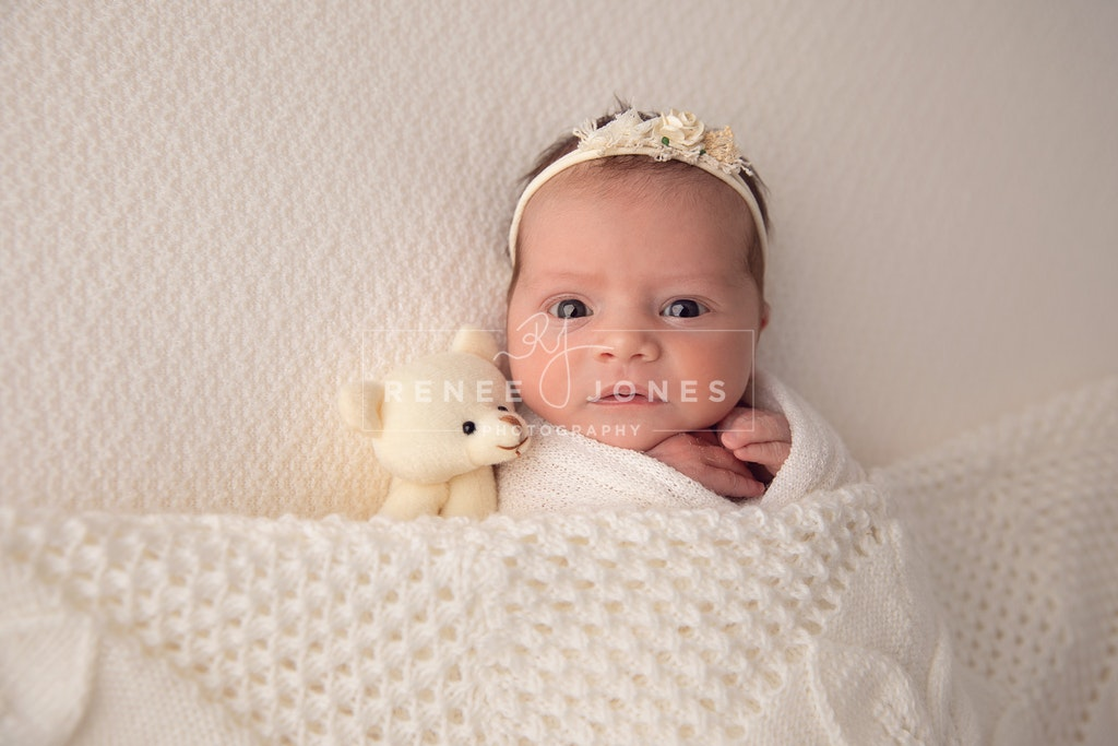 Baby Girl - Brisbane Newborn Photographer - Awake baby with teddy and cream blanket