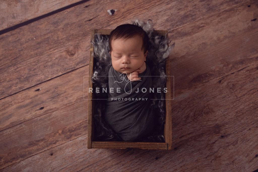 Baby Boy - Brisbane Newborn Photographer - Newborn baby sleeping in wooden crate