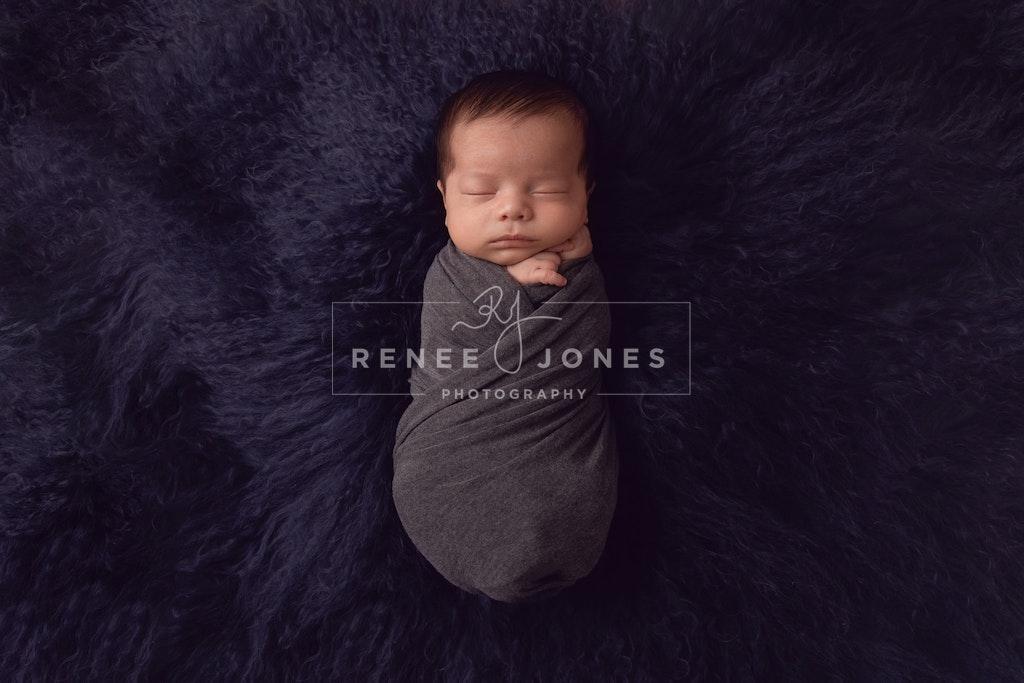 Baby Boy 2 - Brisbane Newborn Photographer - Baby wrapped and sleeping on blue fur