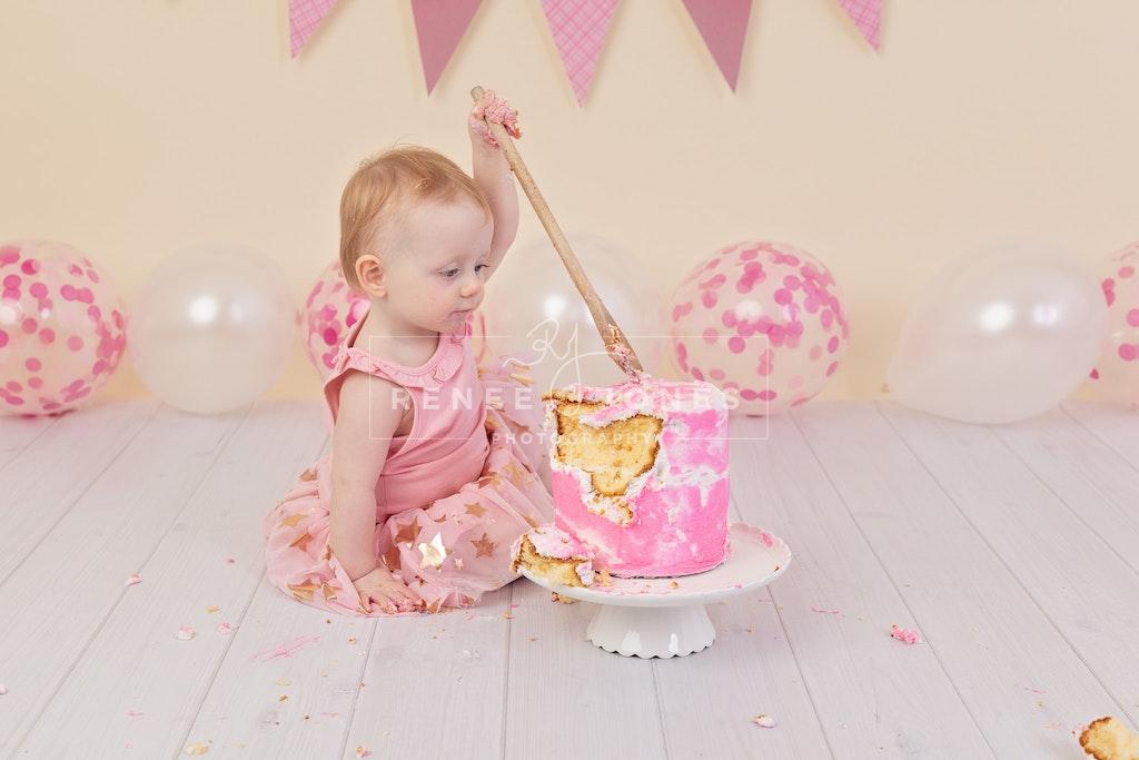 Imogen's Cake Smash 8 - Brisbane Cake Smash Photographer - Pink themed cake smash session. Brisbane Cake Smash Photographer