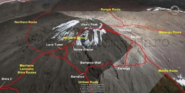 Kilimanjaro Summit Map
