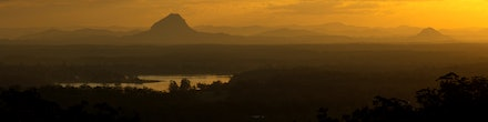 Warm sunset - View of the Cooroora Mt, Pinbarren Mt and lake McDonalds from Tinbeerwah Mt during a beautiful sunset