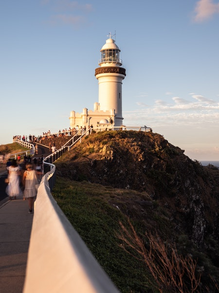 Byron Bay Lighthouse - Golden Light - The famous lighthouse in Byron Bay, NSW basking in golden light before sunset.