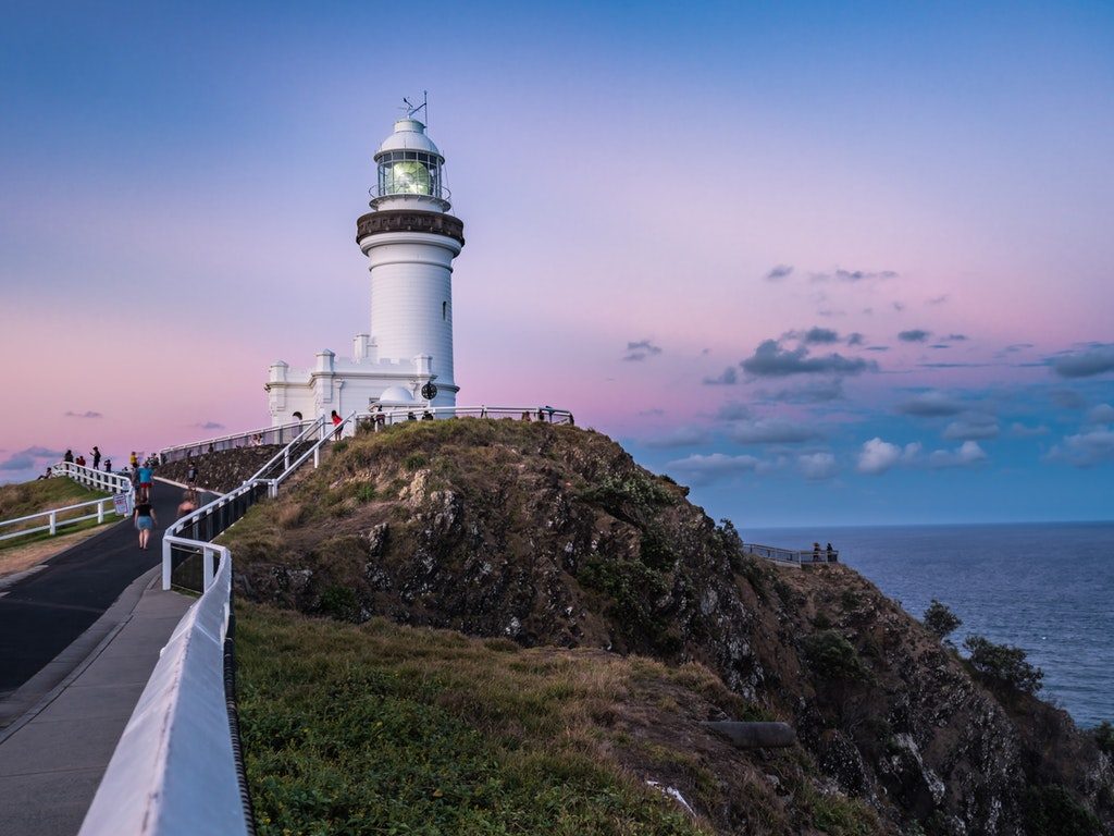 Byron Bay Lighthouse - Pink Skies - The famous lighthouse in Byron Bay, NSW with pink lit skies after sunset.