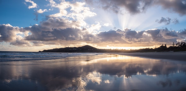 Byron Bay - Clouds Reflected at Dawn - Beautiful skies are reflected in the wet sand of Australia's Byron Bay at sunrise.